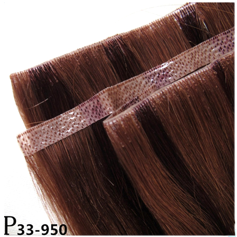 Piano Color Virgin Remy Hair Hand Tied Skin Weft Hair Extension